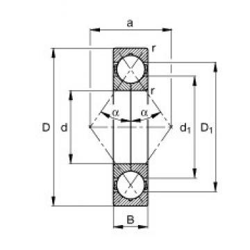 75 mm x 130 mm x 25 mm  FAG QJ215-TVP angular contact ball bearings